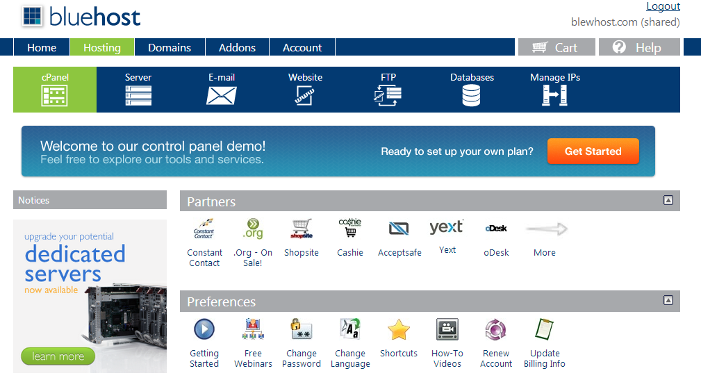 BlueHost Review Cpanel